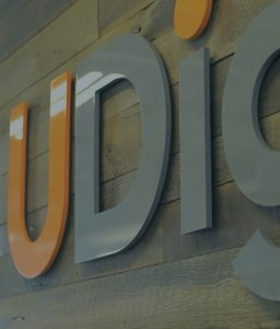 Photo of UDig's logo wall